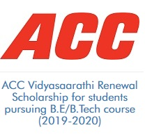 ACC Vidyasaarathi Renewal Scholarship for students pursuing B.E/B.Tech course (2019-2020)