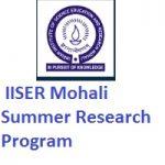IISER Mohali Summer Research Program 2019