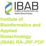 Institute of Bioinformatics and Applied Biotechnology (IBAB) RA-JRF-PDF