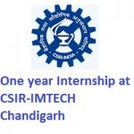 One year Internship at CSIR-IMTECH Chandigarh