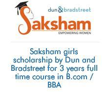 Saksham Dun and Bradstreet Girls Scholarship programme for BBA/B.com