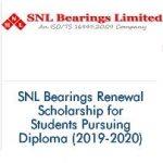 SNL Bearings Renewal Scholarship for Students Pursuing Diploma